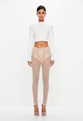 Missguided Nude Embellished Sheer Pants