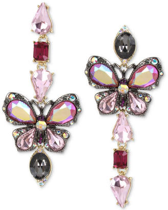 Betsey Johnson Tri-Tone Stone Butterfly Mismatch Linear Drop Earrings