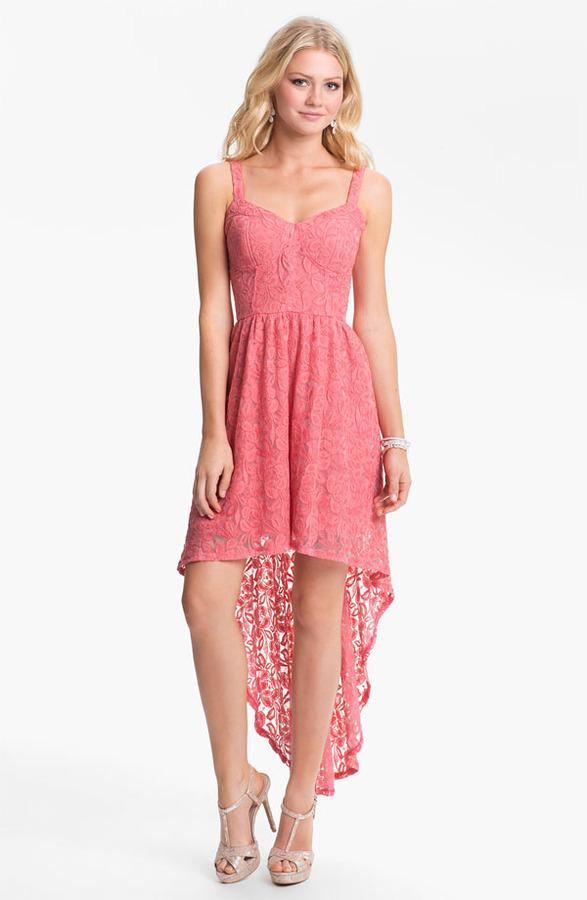 Fire High/Low Lace Bustier Dress (Juniors)