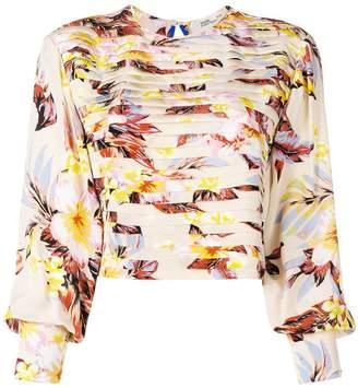 Diane von Furstenberg cropped pleated front blouse