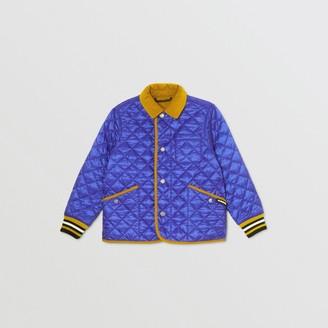 Burberry Childrens Corduroy Trim Lightweight Diamond Quilted Jacket