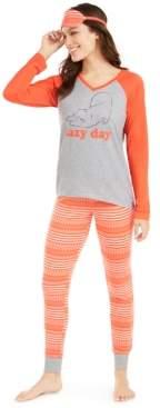 Macy's Jenni Knit Pajamas & Sleep Mask 3pc Set, Created For