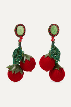 Ranjana Khan La Cerise Silver-tone, Leather, Velvet, Silk, Bead And Crystal Earrings - Red
