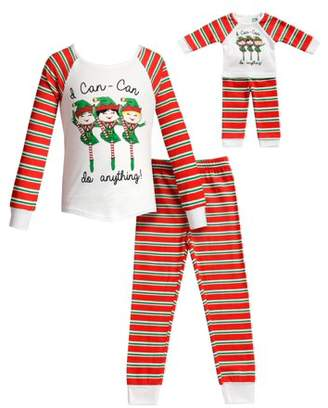 Dollie & Me Can-Can Girls Long Sleeves Snug Top and Pajama - 2 -Piece Outfit with Matching Doll Set (Little Girls and Big Girls)