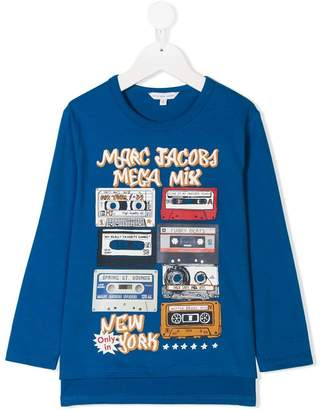 Little Marc Jacobs logo cassette tape print top