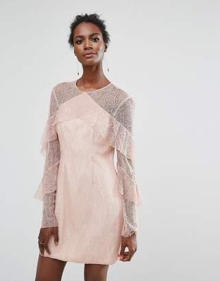 Keepsake Wide Awake Lace Frill Mini Dress