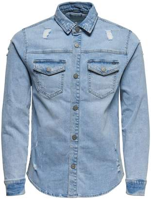 ONLY & SONS Distressed Denim Button-Down Shirt