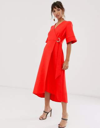 Closet London wrap front kimono sleeve pencil dress in red