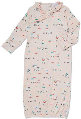 Angel Dear Ruffle-Trim Llama-Print Gown, Size 0-3 Months