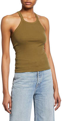 RE/DONE Ribbed Scoop-Neck Fitted Tank
