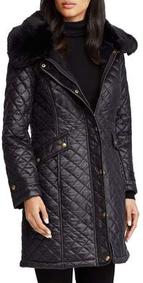 Lauren Ralph Lauren Faux Fur Trim Quilted Coat