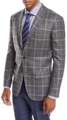 Kiton Men's Plaid Cashmere Three-Button Jacket
