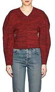 Stella McCartney WOMEN'S MÉLANGE COTTON CROP SWEATER - RED/NAVY SIZE 36 IT