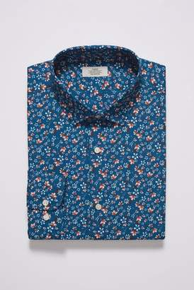 Mens Blue Slim Fit Single Cuff Floral Shirt