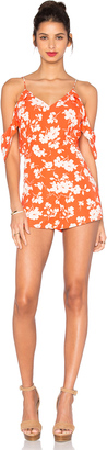J.O.A. Open Shoulder V Neck Floral Romper $90 thestylecure.com