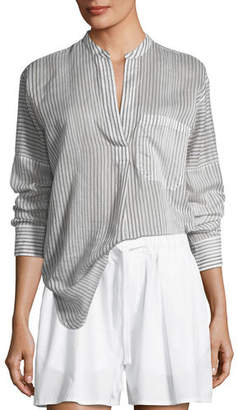 Vince Pencil Stripe Long-Sleeve Pullover Tunic