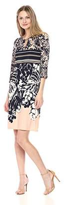 Ronni Nicole Women's 3/4 Sleeve Key Hole Neck Printed Jersey Dress