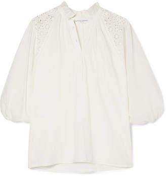 Apiece Apart Vera Broderie Anglaise Cotton-voile Blouse - Cream