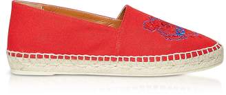 Kenzo Red Canvas and Jute Espadrilles
