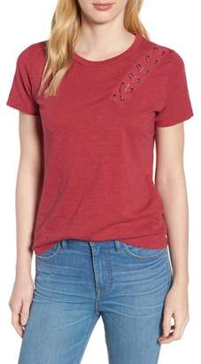 Lucky Brand Lace-Up Shoulder Cotton Tee