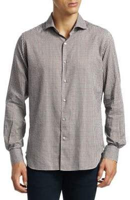 Loro Piana New Alain Cotton Small Check Shirt