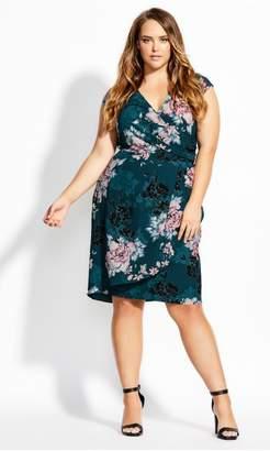 City Chic Citychic Blossom Wrap Dress - jade