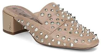 Sam Edelman Women's Augustus Almond Toe Studded Leather Mules