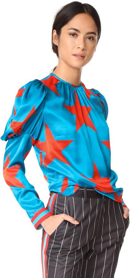 MSGM Star Print Silk Blouse