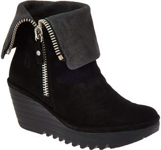Fly London Suede Foldover Boots with Size Zip - Yex