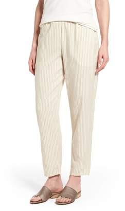 Eileen Fisher Stripe Tapered Hemp Blend Ankle Pants