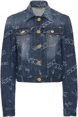 Versace Cropped Logo Denim Jacket