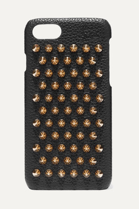 Christian Louboutin Loubiphone Embellished Textured-leather Iphone 7 And 8 Case - Black