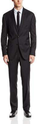 Ike Behar Men's 2 Button Side Vent Wool Suit with Flat Front Pant