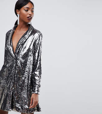 Asos Tall DESIGN Tall sequin tux dress with pleat detail