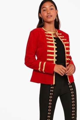 boohoo Daisy Boutique Military Velvet Jacket