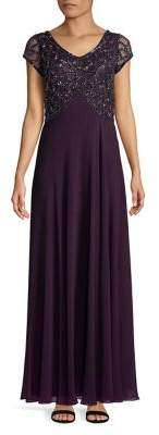 J Kara Embellished Lace Bodice Empire Gown