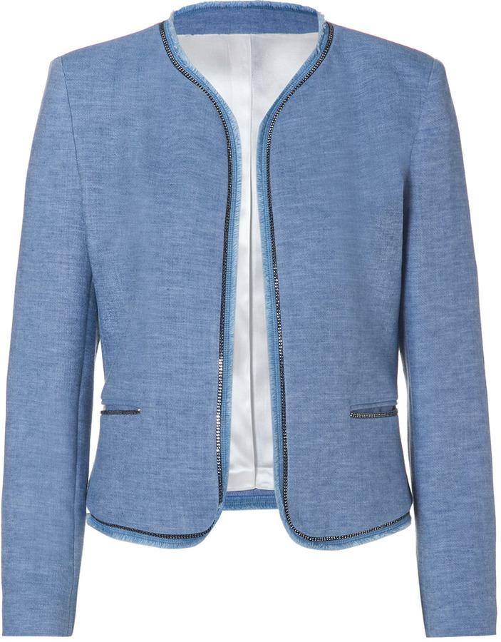 Sandro Cotton-Linen Vivienne Jacket in Blue