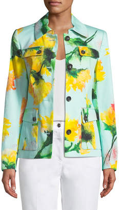 Escada Floral-Water Color Fit & Flare Jacket