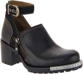 Fly London Leather Ankle Strap Booties - Lepu