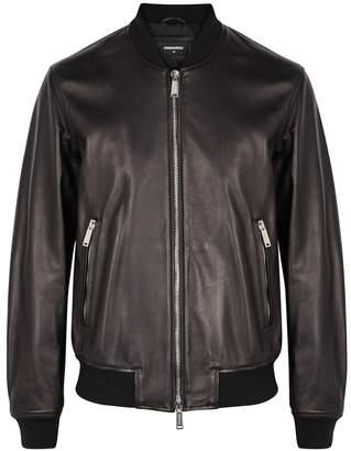 DSQUARED2 Black Leather Bomber Jacket