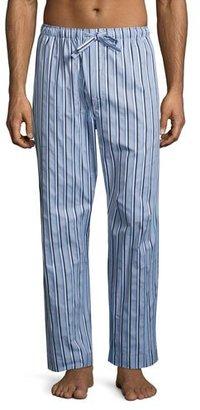 Derek Rose Mayfair 70 Striped Lounge Pants, Light Blue $120 thestylecure.com