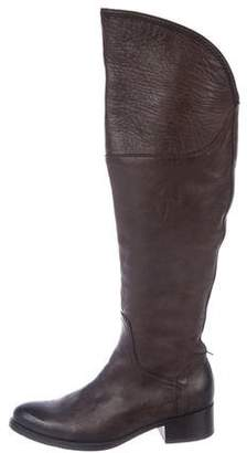 Alberto Fermani Leather Over-The-Knee Low-Heel Boots