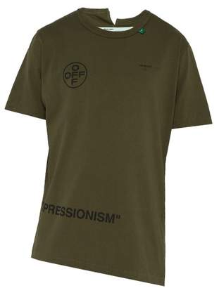 Off-White Off White Stencil Print Cotton T Shirt - Mens - Green