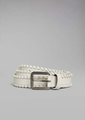 Giorgio Armani Leather Belt With Interlaced Edge