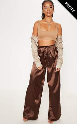 2a45db50709 PrettyLittleThing Petite Chocolate Brown Satin Tie Waist Wide Leg Trousers