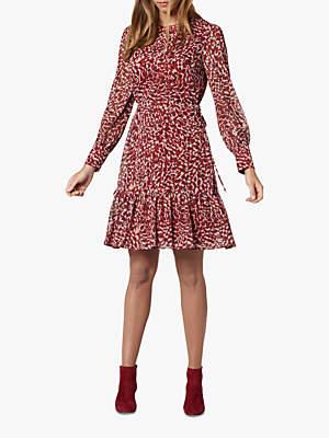 LK Bennett L.K.Bennett Damiell Abstract Animal Print Dress, Red/Multi
