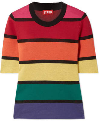 STAUD Bain Cropped Striped Cotton Top - Red