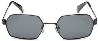 Polaroid Unisex Slim Polarized Hexagonal Sunglasses, 53mm