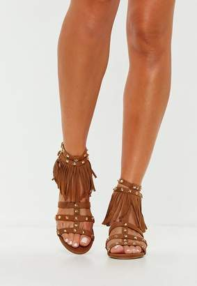 Missguided Tan Fringe Studded Gladiator Sandals