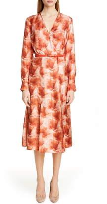 Max Mara Cenere Belted Long Sleeve Silk Dress